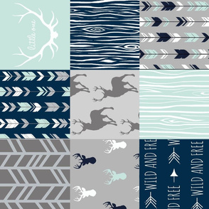 Wholecloth Patchwork Deer in navy, grey and mint. Rotated. Elk, arrows, woodgrain
