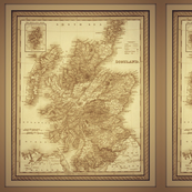 Scotland map in sepia