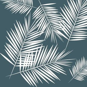 palm leaves - white on dusty blue