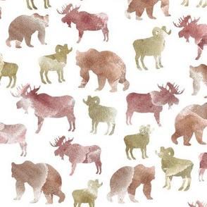 mountain animals earth tone watercolor