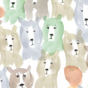 watercolor mountain bear fabric
