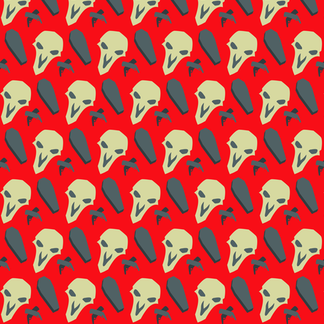 Death Blossom (red) fabric by bmdstudios on Spoonflower - custom fabric