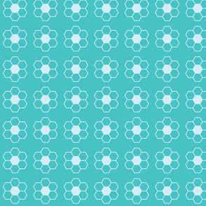 Blue Green Honeycomb Flower Simple