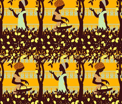 Lemon Harvest - small fabric by reikahunt on Spoonflower - custom fabric