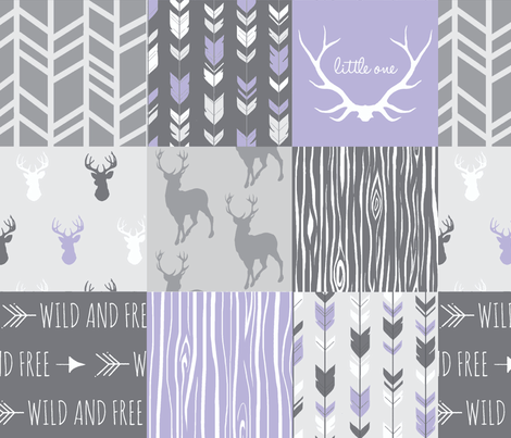 Patchwork Deer in lilac, grey, white - Wholecloth quilt - Woodland Nursery fr baby girl fabric by sugarpinedesign on Spoonflower - custom fabric
