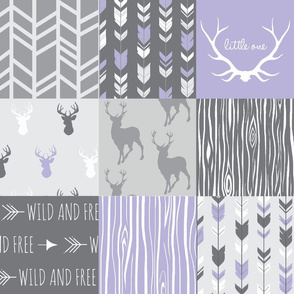 Patchwork Deer in lilac, grey, white - Wholecloth quilt - Woodland Nursery fr baby girl