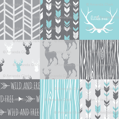 Patchwork Deer in Aqua and Grey - Wholecloth quilt