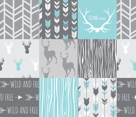 Patchwork Deer in Aqua and Grey - Wholecloth quilt fabric by sugarpinedesign on Spoonflower - custom fabric