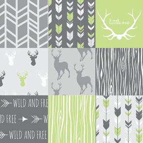 Wholecloth Patchwork Deer in grey and lime