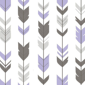 Arrow Feathers - grey, lilac, white- purple nursery