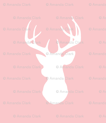 Deer-White on pink- stag Buck deer head silhouette -ch