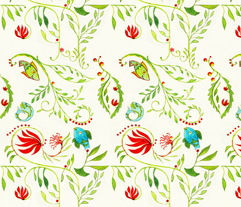 Fish_and_Fern_clean_pattern_8_best fabric by mermaid13 on Spoonflower - custom fabric