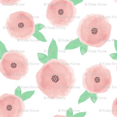 Pastel Pink Watercolor Flowers