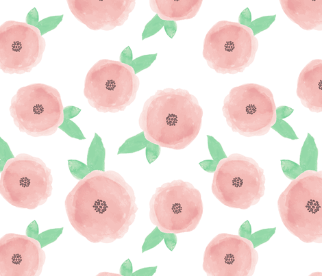 Pastel Pink Watercolor Flowers fabric by simple_soul_boutique on Spoonflower - custom fabric