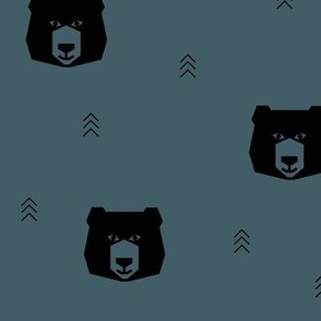 bear heads - dusty blue bears woods forest geometric bears