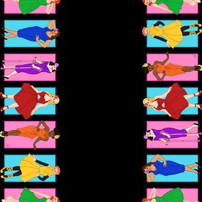 Rainbow Pinup Girls - Border - Black