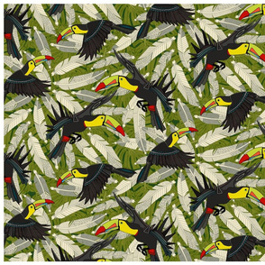 toucan jungle tea towel