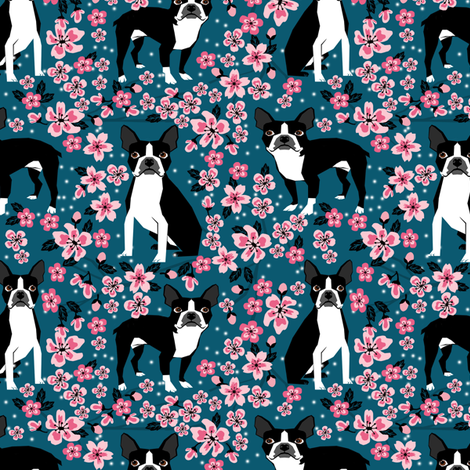 Boston Terrier cherry blossom spring florals dog breed patterned fabric navy fabric by petfriendly on Spoonflower - custom fabric
