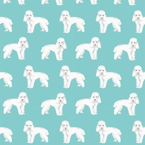 Toy Poodle dog pattern dog fabric teal