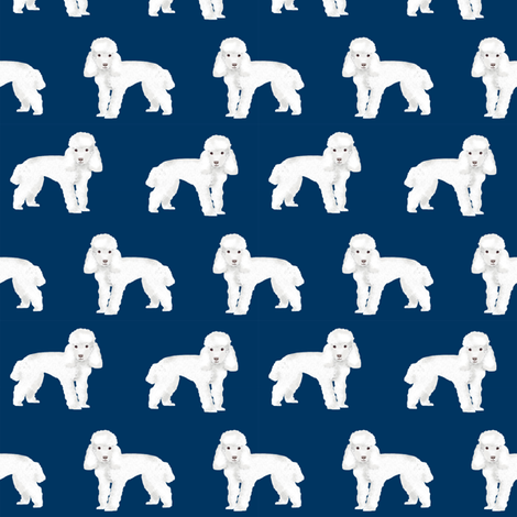 Toy Poodle dog pattern dog fabric  navy fabric by petfriendly on Spoonflower - custom fabric