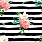 "10.5"" Flamingo Park Black and White Stripes Floral"