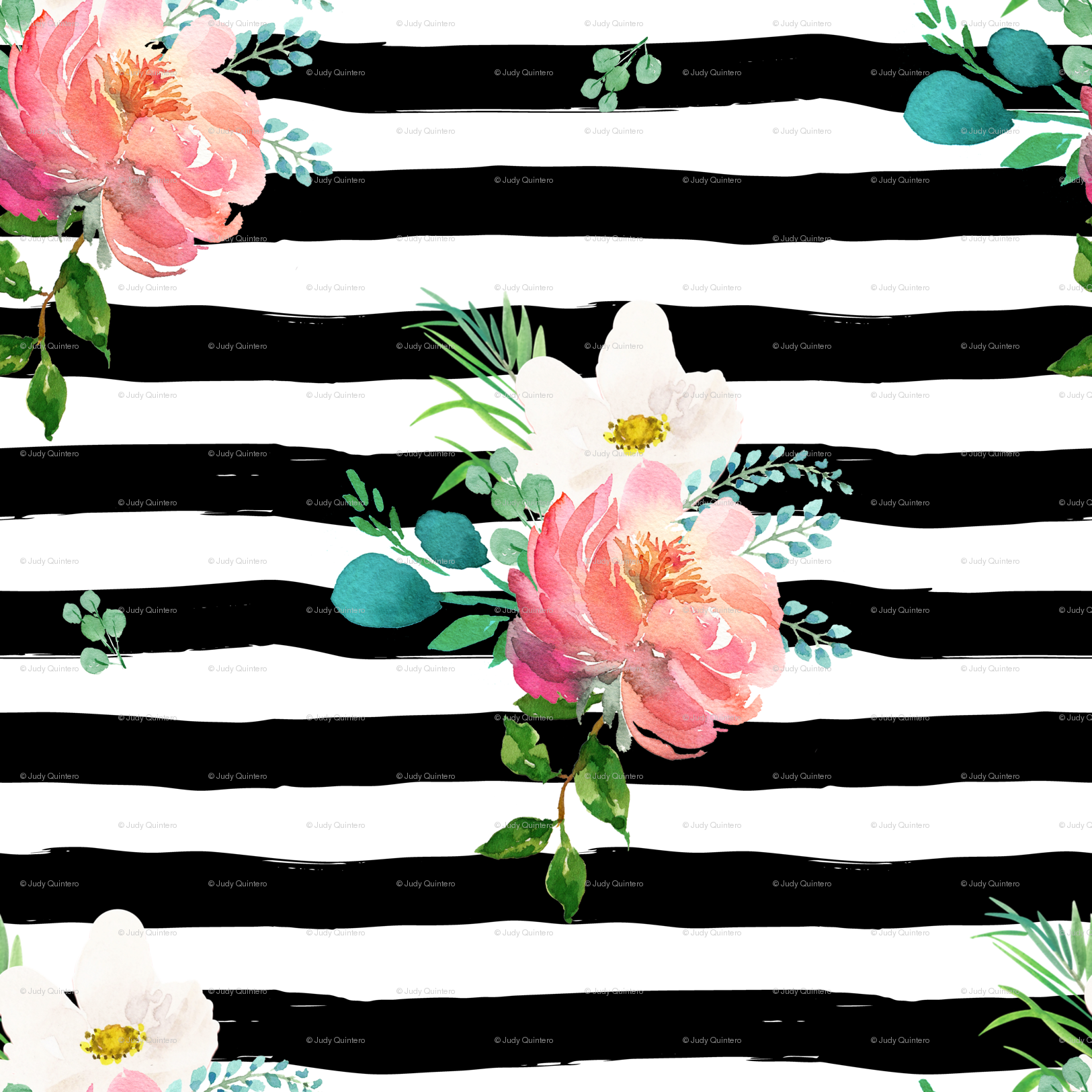 105 Flamingo Park Black And White Stripes Floral Wallpaper