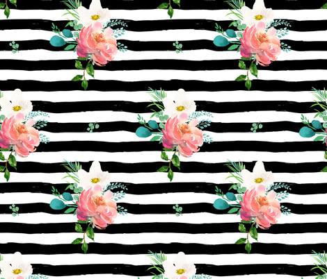"10.5"" Flamingo Park Black and White Stripes Floral fabric by shopcabin on Spoonflower - custom fabric"