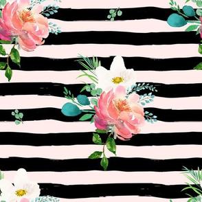 "10.5"" Flamingo Park Black and Pink Stripes Floral"