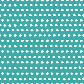 "8"" White Polka Dots / Dark Aqua Background"