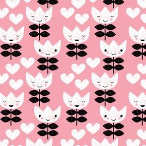 Sweet pastel tulip flowers blossom kawaii love pastel pink print SMALL