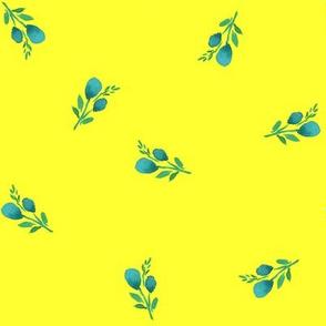 "8"" Flamingo Park Aqua Branches - Bright Yellow"