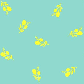 Bright Yellow Branches with Bright Aqua Background