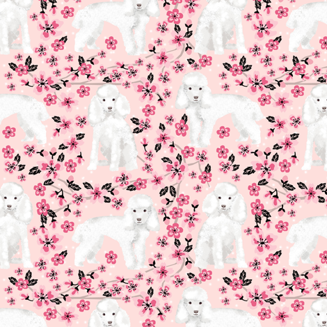 toy poodle cherry blossom fabric spring floral dogs design - pink fabric by petfriendly on Spoonflower - custom fabric