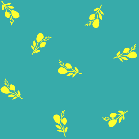 "8"" Bright Branches with Dark Aqua fabric by shopcabin on Spoonflower - custom fabric"