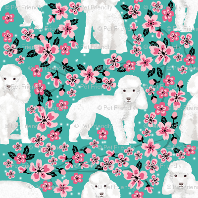 toy poodle cherry blossom fabric spring floral dogs design - turquoise