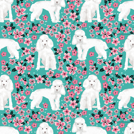 toy poodle cherry blossom fabric spring floral dogs design - turquoise fabric by petfriendly on Spoonflower - custom fabric