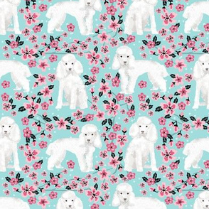toy poodle cherry blossom fabric spring floral dogs design - blue tint