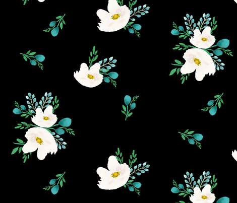 "14"" Flamingo Park White & Aqua Flowers / Black Background fabric by shopcabin on Spoonflower - custom fabric"