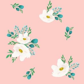 "14"" Flamingo Park White & Aqua Flowers /Dark Pink Background"