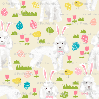 toy poodle  easter fabric spring pastel easter egg - yellow