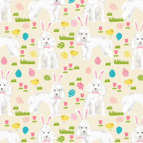 toy poodle  easter fabric spring pastel easter egg - yellow fabric by petfriendly on Spoonflower - custom fabric