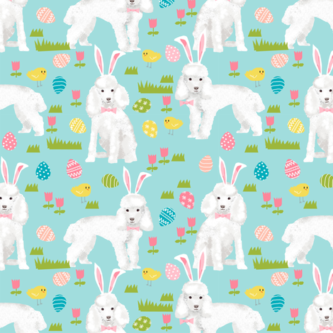 toy poodle  easter fabric spring pastel easter egg - blue tint fabric by petfriendly on Spoonflower - custom fabric