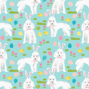 toy poodle  easter fabric spring pastel easter egg - blue tint