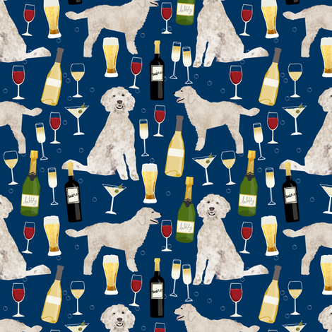 Doodle golden doodle wine beer drinks dog pattern navy fabric by petfriendly on Spoonflower - custom fabric