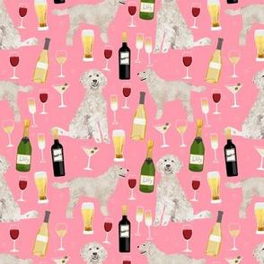 Doodle golden doodle wine beer drinks dog pattern pink