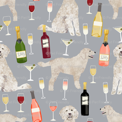 Doodle golden doodle wine beer drinks dog pattern grey