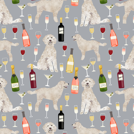 Doodle golden doodle wine beer drinks dog pattern grey fabric by petfriendly on Spoonflower - custom fabric