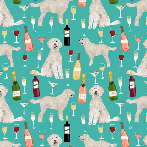 Doodle golden doodle wine beer drinks dog pattern turquoise fabric by petfriendly on Spoonflower - custom fabric