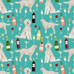 Doodle golden doodle wine beer drinks dog pattern turquoise
