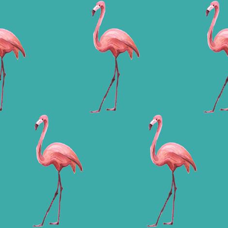 Flamingo Park - Dark Aqua fabric by shopcabin on Spoonflower - custom fabric